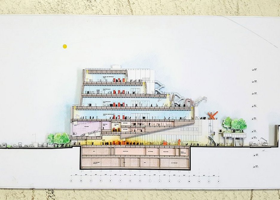 Renzo Piano Building Workshop, Drawing of the Whitney Museum of American Art, New York (longitudinal section)