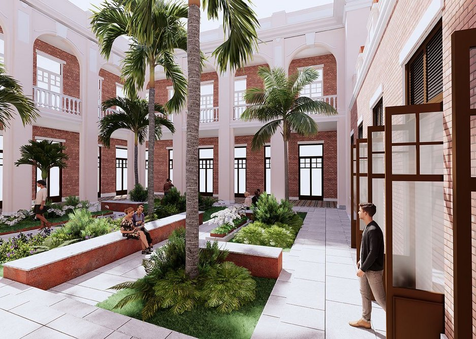 Interior view of the front courtyard for the University of Hong Kong. Wilkinson Eyre is working alongside conservation architects Purcell and AD+RG on the rejuvenation of Leigh & Orange's 1912 main building for the university.