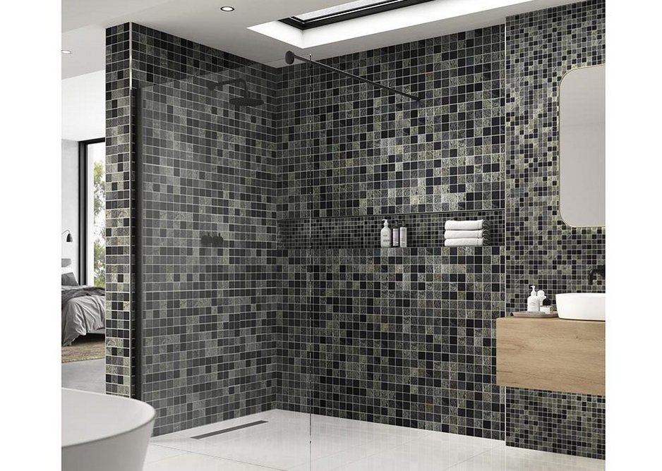 Marmox Slicedstone Mosaics on a roll offer inspiring solutions for the design and renovation of bathrooms and wetrooms. Shown here in 952 Slate/Lava Stone/Sea Stone.