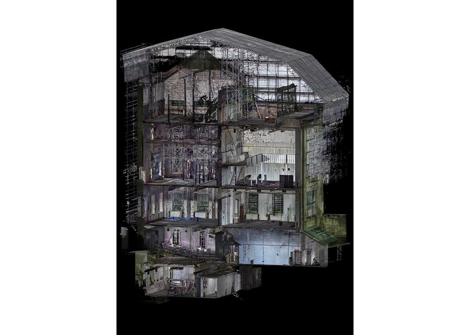 3D visualisation of the damaged section through the west wing (including library).