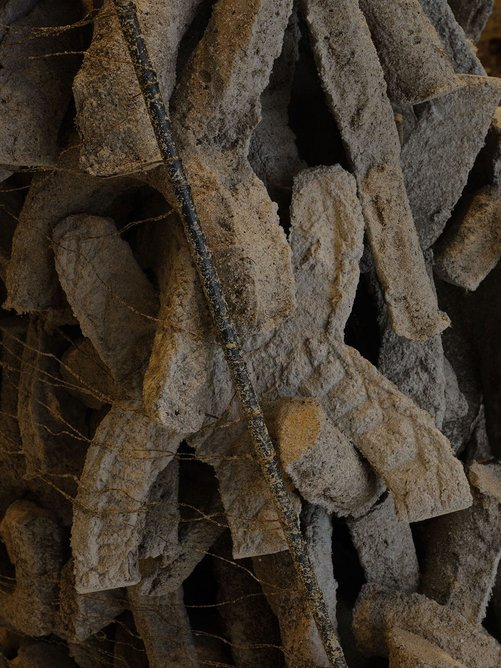 The cave-like structure features around 3,000 modules made from the low-carbon cement