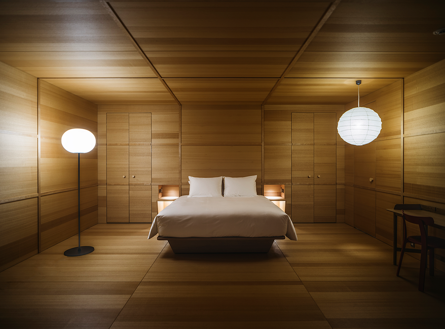 The Jasper Morrison room – one of four special guestrooms by different creatives – is cocooned entirely in calming light wood, inspired by the idea of being inside an art crate.