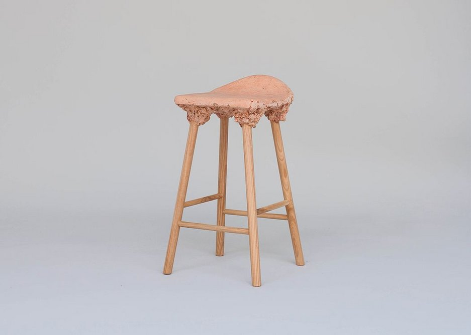 Production made - Well Proven Stool by van Aubel and Shaw, uses a composite of sawdust and soya based resin on American Ash, Cherry and Walnut legs.