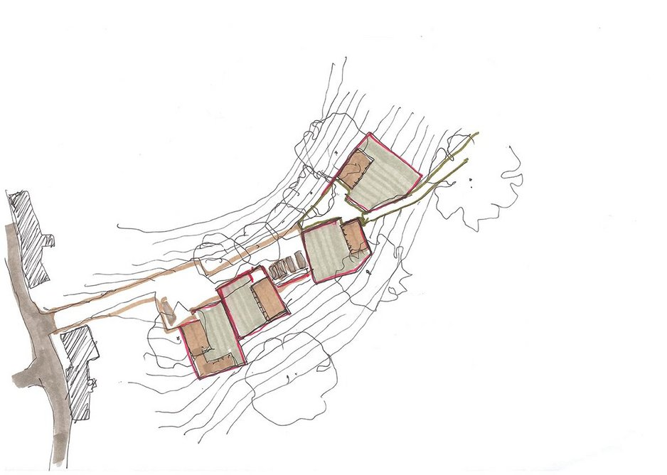 Lane, cottage, wall & garden by Jamie Fobert Architects as part of the practice's exploration of the cottage typology in West Burton, Yorkshire.