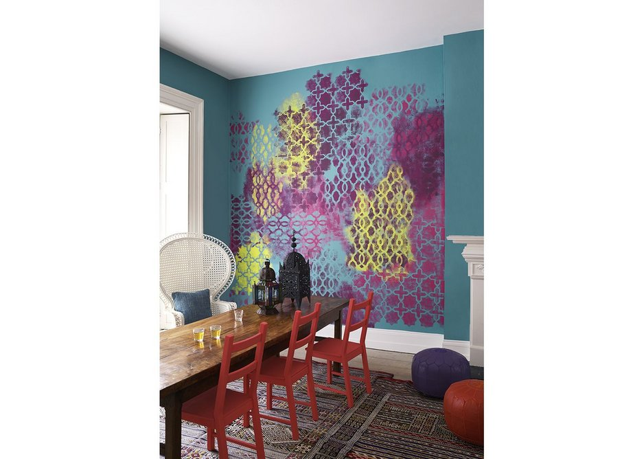 Crown Paints' Fusion colour collection showcases rich, vibrant hues in a complex, ornamented design.