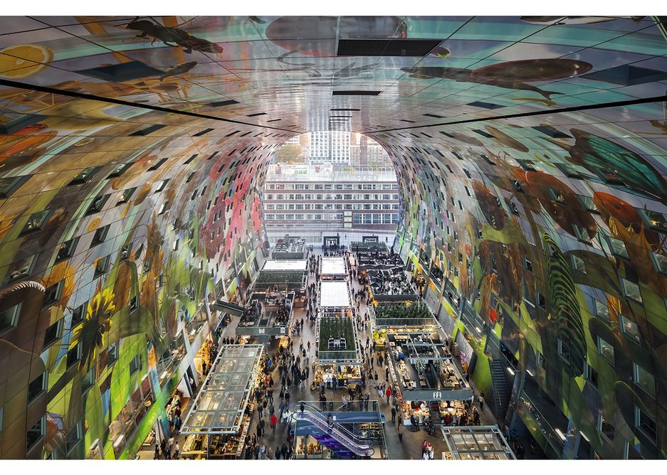 MVRDV's Markthal in the centre of historic Rotterdam epitomises the socially progressive spirit of their work. A popular destination, it successfully combines two different building types: a covered market and an arched apartment block.