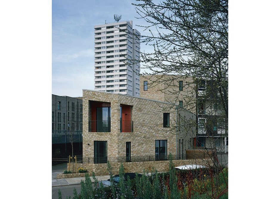 Barrington Close side elevation. The stepped level with sheltered balcony generates a new relationship to the site.