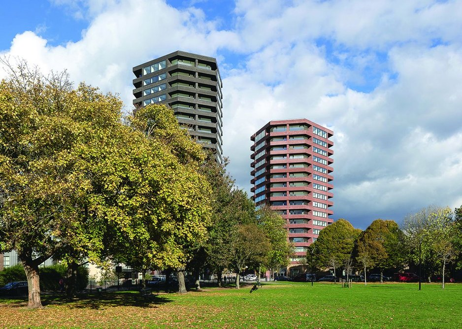 Seen from Shoreditch Park, the two towers act as a gateway to the reviving estate behind.