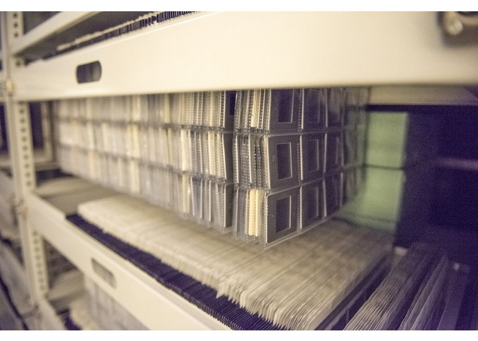 The archive inside the Norman Foster Foundation Archive and Library, Madrid.