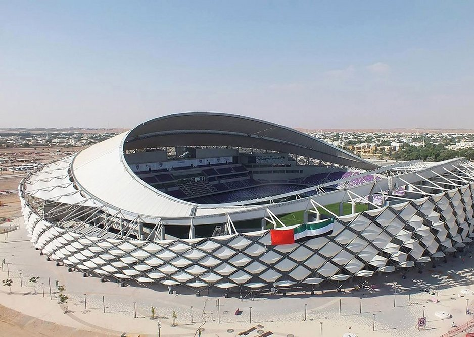 Hazza Bin Zayed Stadium, UAE, where Tyrer developed facade optimisation software for fabrication – and lived on site for two months for site supervision