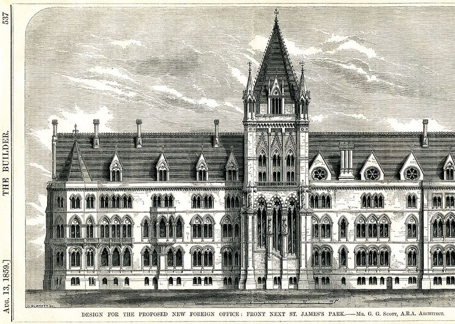 Woodcut of Scott's gothic design for the Foreign Office, 1859.