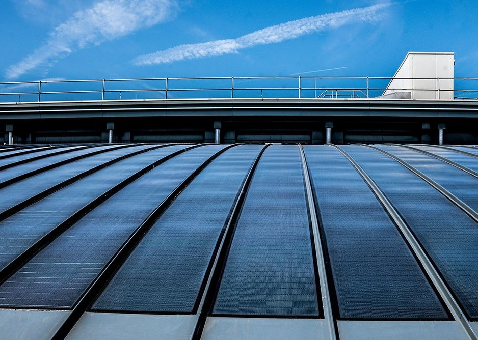 Generating energy from the sun through the roof on the Active Building Centre in Swansea...