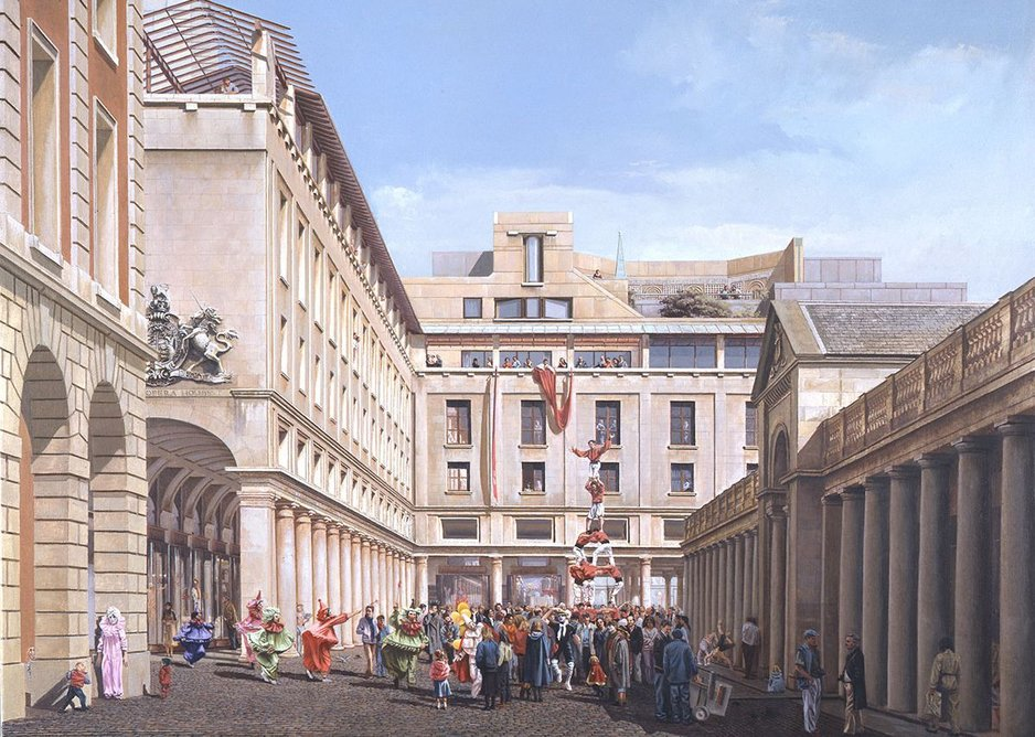 Painting by Carl Laubin of the Royal Opera House project in Covent Garden by Jeremy Dixon and BDP, 1986.