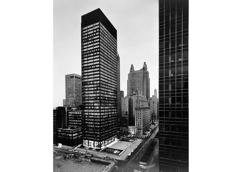 As the sun goes down and the lights go on: Seagram Building, view from northwest at dusk.