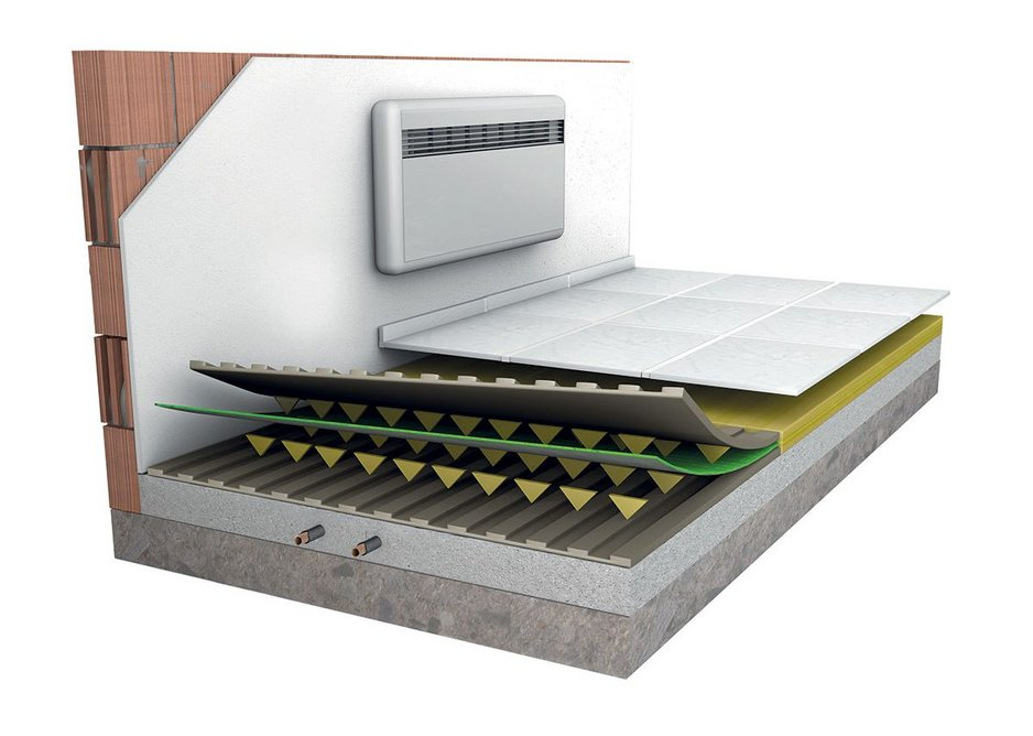 Laminate No Crack Waterproofing system with layers, starting from the bottom: 1 Substrate; 2 Biogel Adhesive; 3 Green-Pro membrane; 4 Biogel Adhesive; 5 Tiles & Grout.