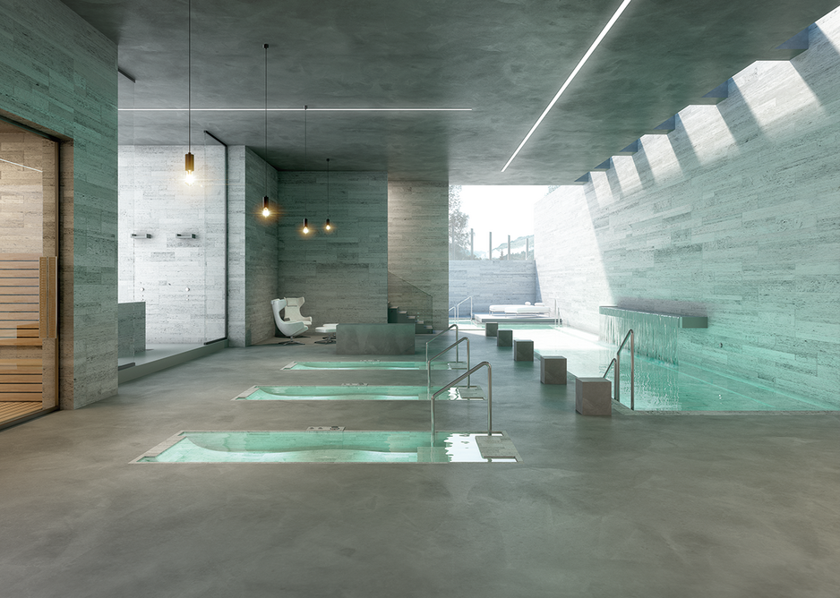 Mapei Utratop Loft cement-based flooring in a hotel and spa setting.