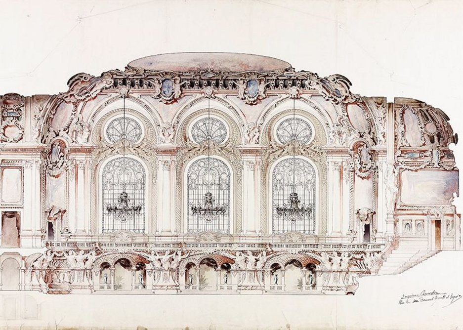 Design for a ballroom in a theatre – section showing chandeliers, 1893.