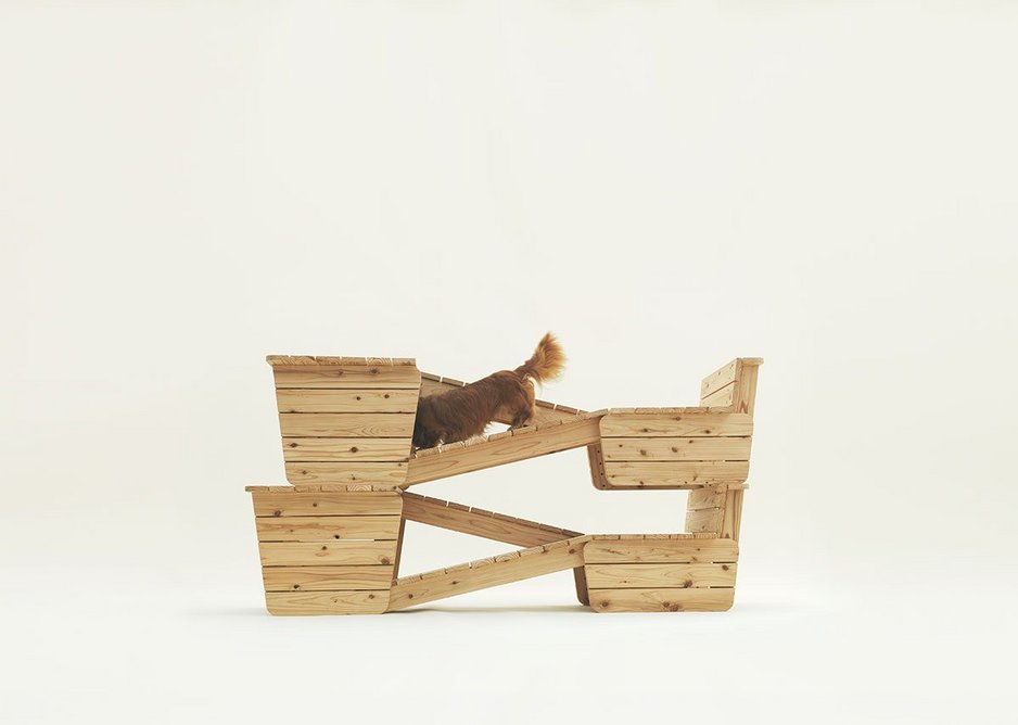 Architecture for Long-Bodied-Short-Legged Dog by Atelier Bow-Wow for Dachshund Smooth.