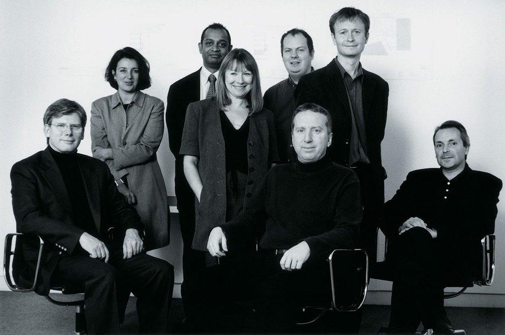 Allies and Morrison partnership (historic). Pictured left to right: Graham Morrison, Jo Bacon, David Amarasekera, Jo Saunders, Robert Maxwell, Paul Appleton, Bob Allies and Chris Bearman.