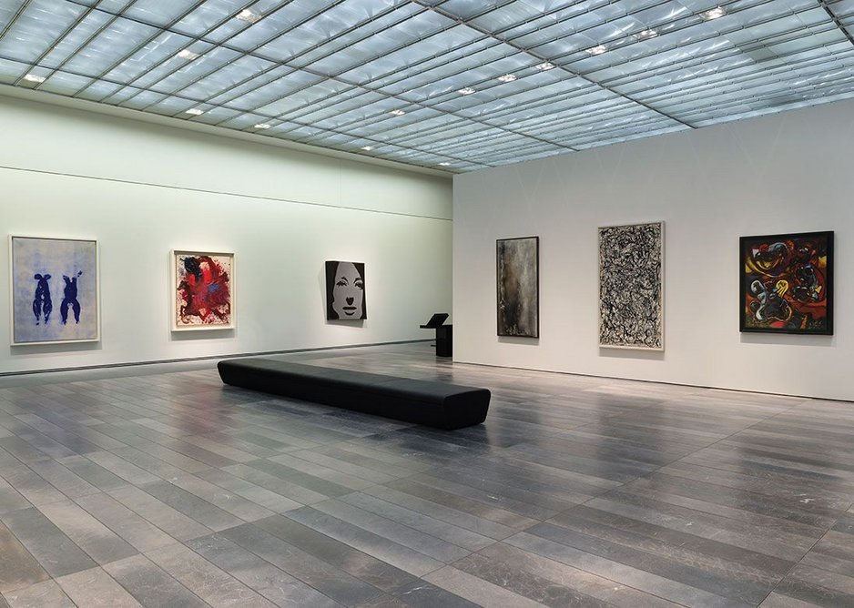 25,000 individual panels of glass create the shimmering ceilings. Stone planks change throughout the galleries but are all equally opulent.