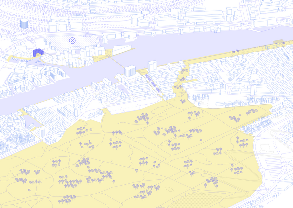 Residents in newly built Havneholmen had to stretch out into other areas to find the green spaces they need. Congested nodes are shown in yellow.