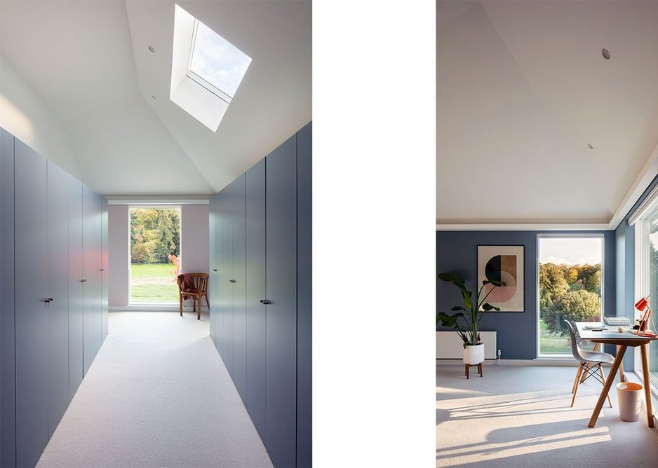 Bedroom and master dressing room: the ceiling of each room is different.