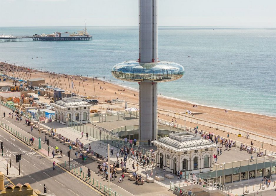 The i360 designed by Marks Barfield in Brighton features an accessible roof terrace for visitors to enjoy views out to sea.