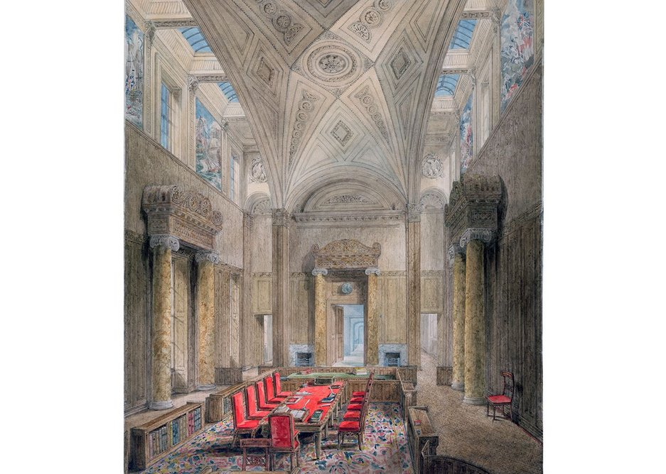 Privy Council Chamber designed by Soane, drawn by Gandy.