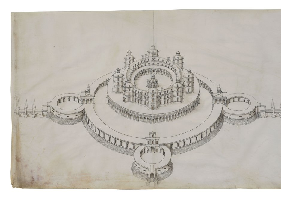 Study for an ideal fortified château circa 1565-1575,  Jacques Androuet du Cerceau.