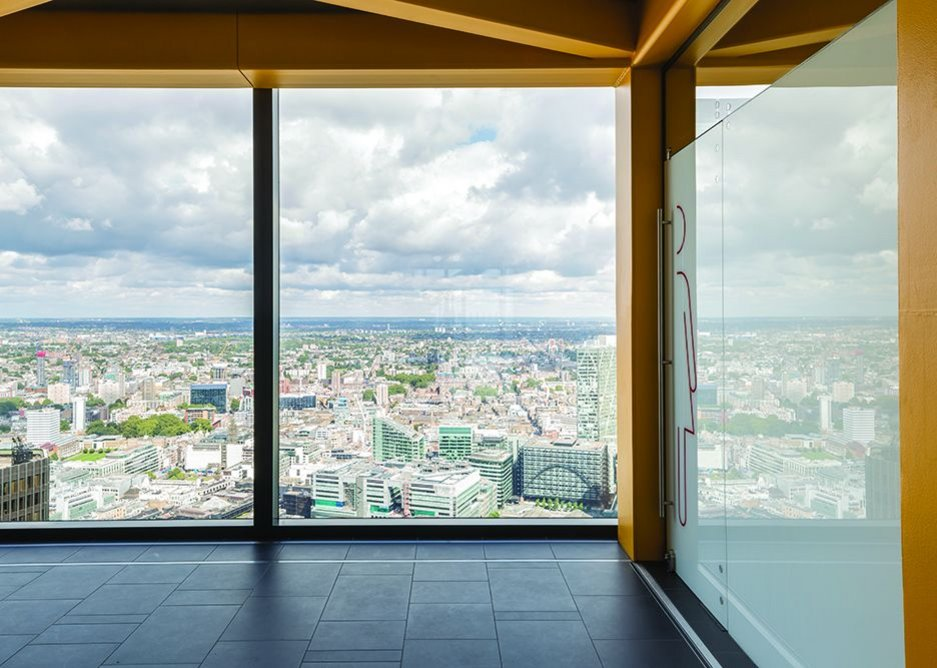 Spectacular views north over London can be had from the toilet lobbies.