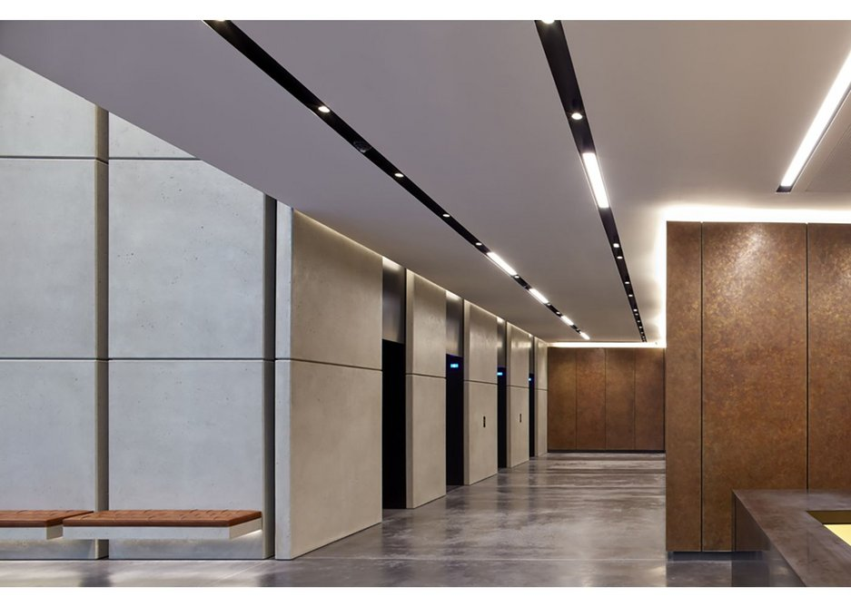 Lazenby's Mayfair Grey polished concrete floor at One Bedford Avenue, London.