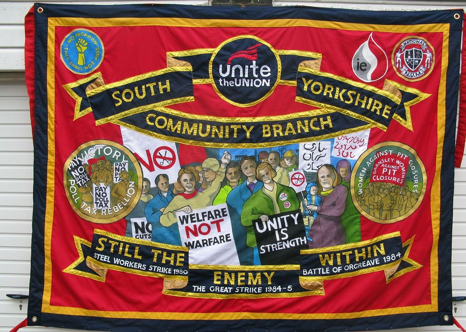 Banner made by Ed Hall for the Unite union.
