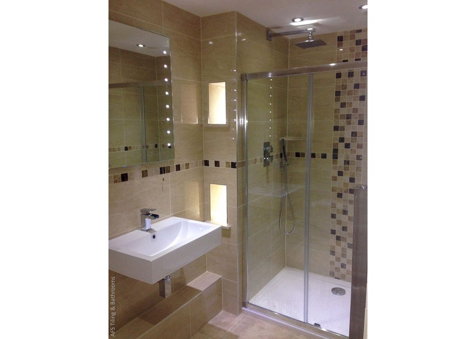 Tiling projects such as this shower room can be achieved more cleanly and comfortably.