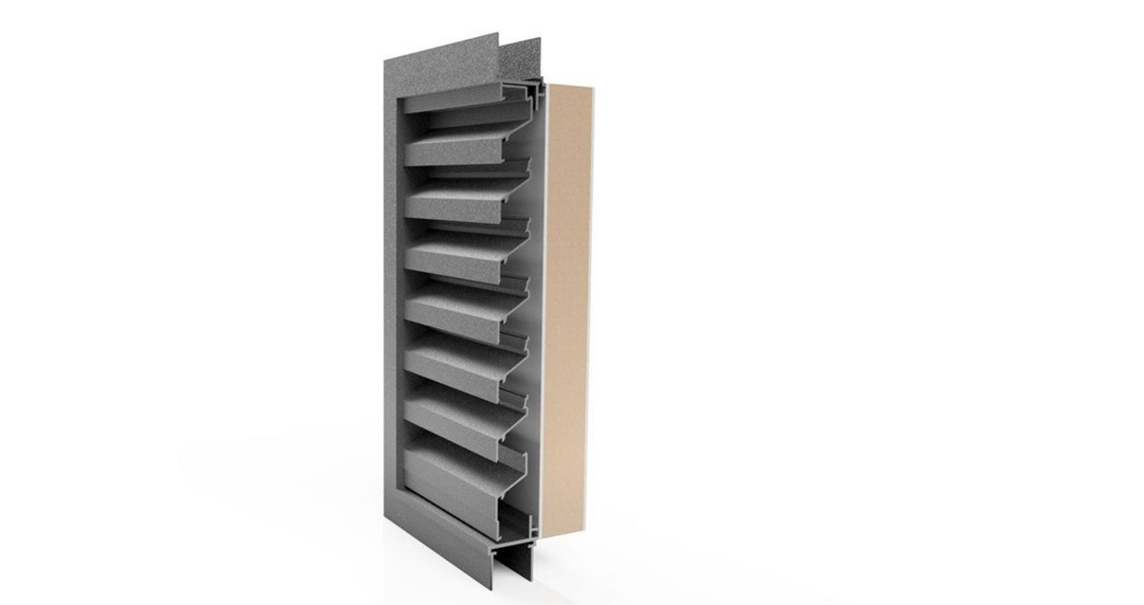 Renson 414 ventilation louvre with thermal backing panel.