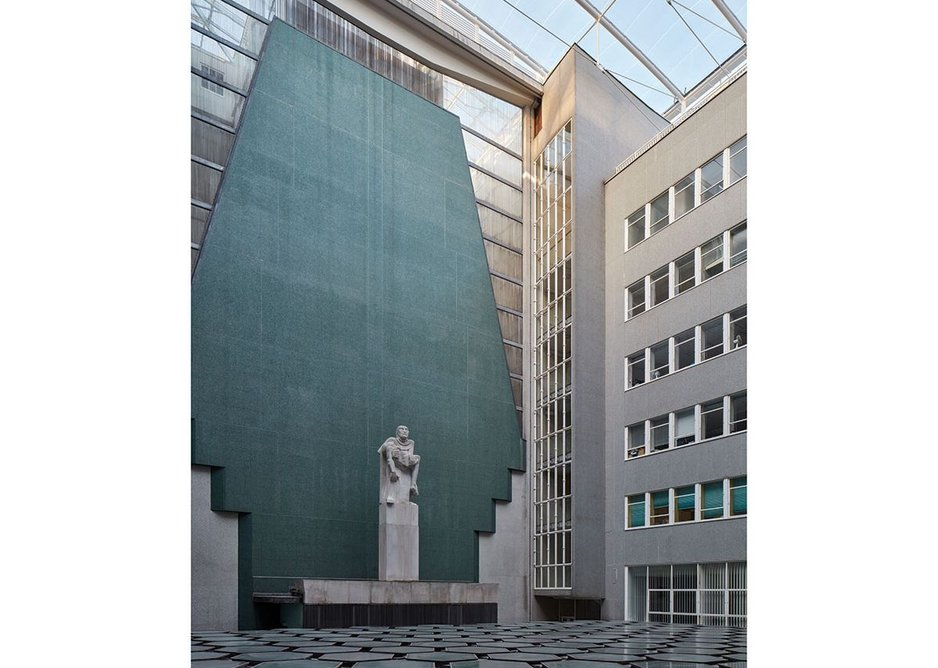 The memorial courtyard, with Jacob Epstein's Pieta, against its screen of green mosiac and delicate Pyrex tubes.