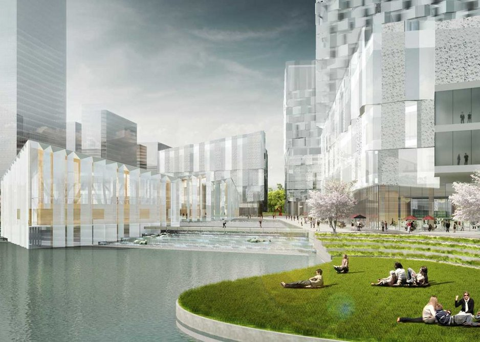 The proposed Sino-Finnish Congress Centre in Nanjing, China, uses the solar cells.