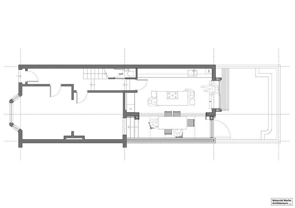Floorplan of the extended kitchen in Stoke Newington, north London.
