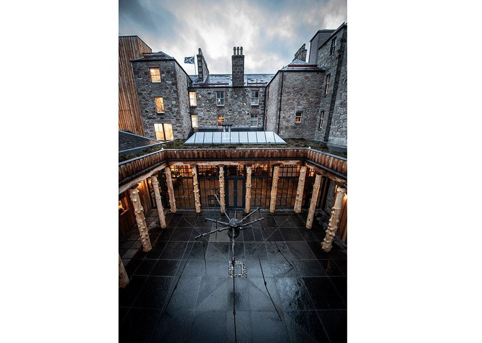 Fife Arms courtyard. A new, rational extension to the hotel, with Louise Bourgeois spider.
