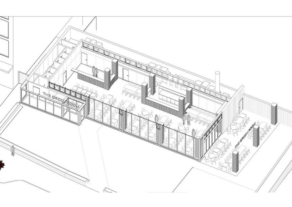Isometric drawing of the restaurant.