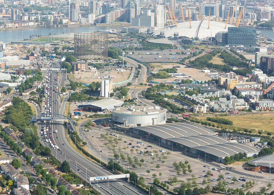 Traffic jams from now. Blackwall Tunnel, aerial view south approach © TfL Visual Services.