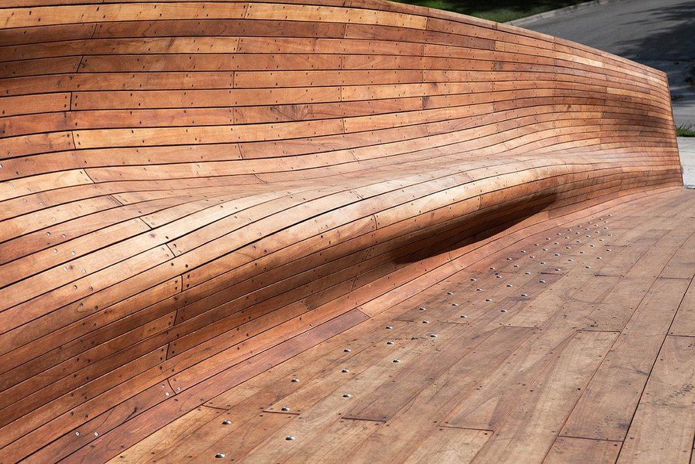 The steel substructure was clad with hundreds of Spanish Cedar planks.