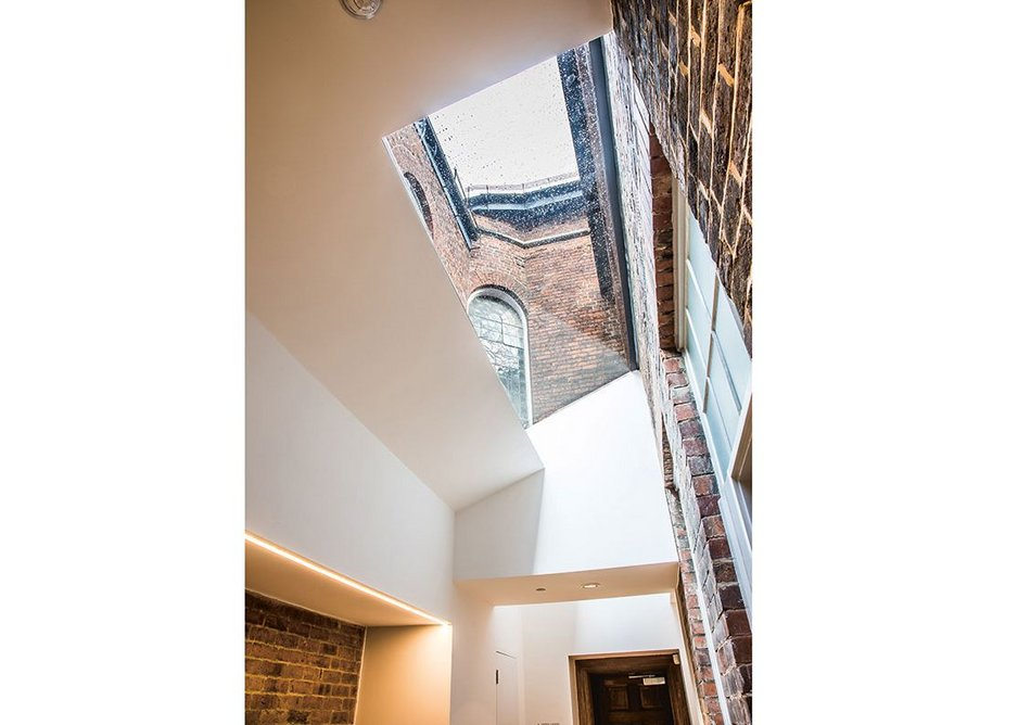 Relationship of old buildings with new extension is harmonious. The Hollis Building Sheffield, Chiles Evans and Care architects, RIBA regional award and small project of the year 2019. Credit Dug Wilders