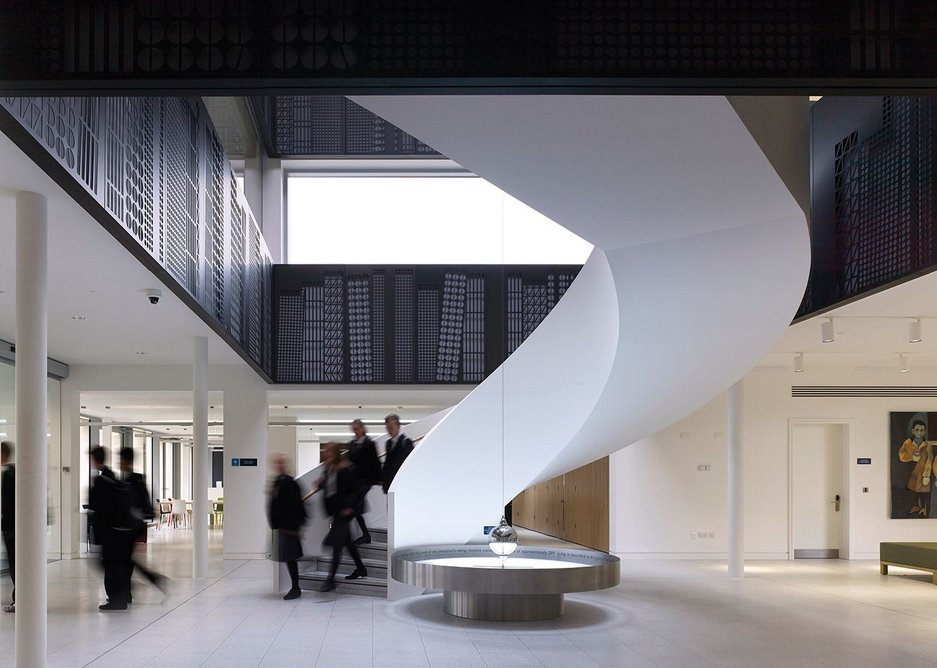 The stair as centrepiece to a space that has deliberately been left acoustically lively.