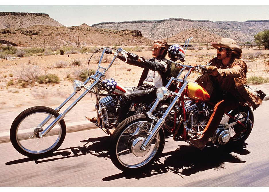 Publicity still from the film Easy Rider, 1969. Sunset Boulevard / Corbis / Getty Images. Captain America chopper motorbike designed by Ben Hardy and Clifford Vaughs.