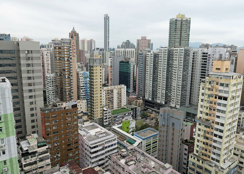 Cramming in the buildings in Mong Kok: note how some very slender towers are just vertical extrusions from the plot, following its shape.