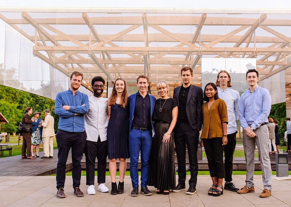 The IF_DO team in 2017 at the opening of the Dulwich Pavilion in the grounds of Dulwich Picture Gallery.