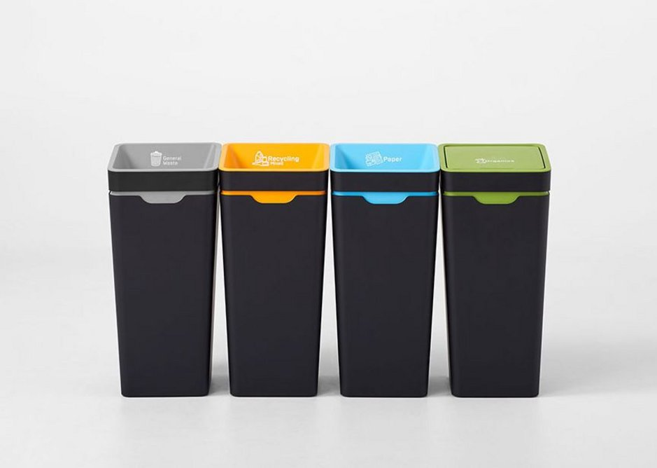 A UK Method recycling station featuring general waste, mixed recycling, paper and organics streams.