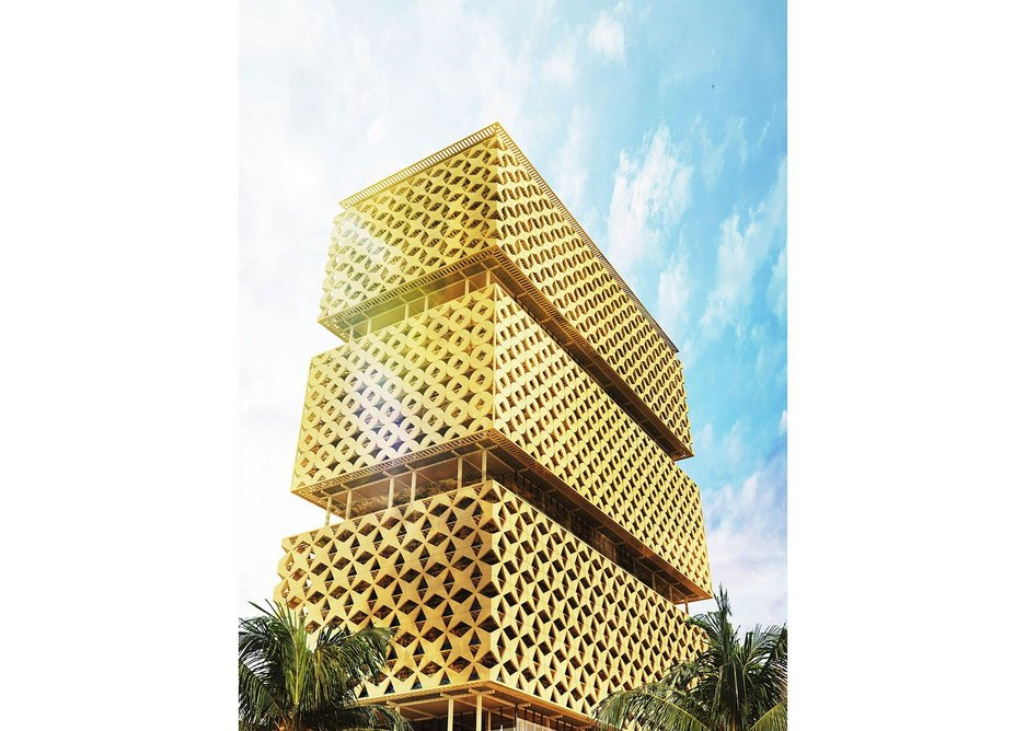 Abebe Court Tower, a wooden tower proposed for Lagos, Nigeria.