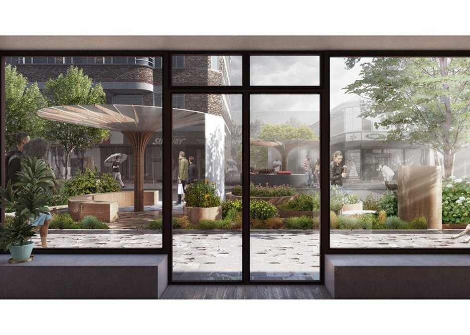 View of the newly pedestrianised Shields Road from within a shop. Shaw Studio's proposal creates a food growing park through the middle.