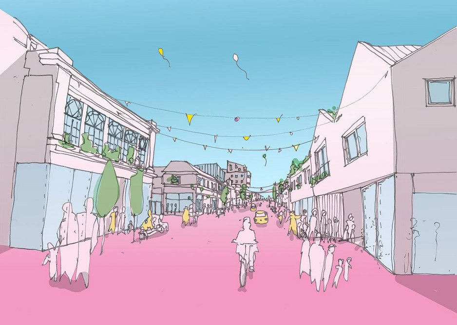 The proposal turns the linear high street  into a long pedestrianised public square.